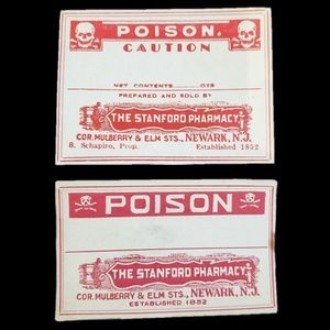 Antique poison bottle label from 1910s.